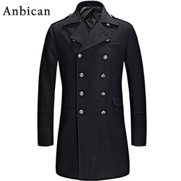 Manteaux Minces De Pois Pas Cher-Vente en gros - Ankican 2016 Winter Black Wool Coat Hommes Luxe Brand Double Breasted Long Cashmere Overcoat Mens Slim Fashion Pea Coat XXL XXXL