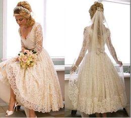 $enCountryForm.capitalKeyWord Canada - Vestido De Festa De Casamento Vintage Wedding Dress Tea Length Beach wedding gowns 2017 V-neck Three Quarters Sleevs Lace Vestido De Noiva