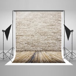 Light Wood Flooring Canada - 5x7ft(150x220cm) Vintage Brick Wall Photography Background Light Gray Wood Floor Photo Backdrop for Children