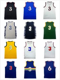 Throwback Allen Iverson # 3 Баскетбол Джерси Mesh # 3 Jerseys 2017 Rainbow # 3 High School Iverson 3 Jersey бесплатная доставка