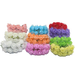 $enCountryForm.capitalKeyWord Canada - Wholesale- 144pcs package 2.5CM Silk Multicolor Artificial Flowers PE Rose Foam Mini Flower Bouquet Solid Color wedding decoration 5ZJS013