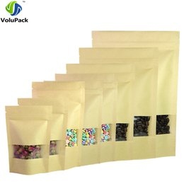 Clear Zip Bags Canada - Multi Sizes 100pcs Herb Coffee Tea Retail Zip Lock Storage Bag w  Clear Window Reclosable Brown Kraft Paper Stand Up Pouches