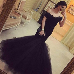 Barato Preto Corset Organza-Sexy Long pouco Black Off The Shoulder Mermaid Prom Dresses 2017 Corset Lace Prom Vestido de festa Celebrity Formal Evening Gowns