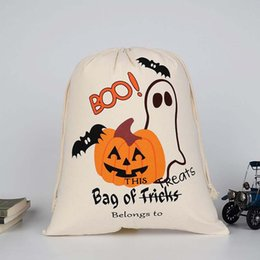 Cloth Pumpkins Canada - Halloween candy bag gift sacks Large Canvas bags cotton Drawstring bag Pumpkin devil spider printing Hallowmas Gifts Sack Bags