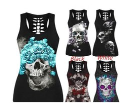 Taille Xl Pas Cher-New Sexy Skull Print Tank Tops Black Plus Size Casual Summer Punk Street Tops