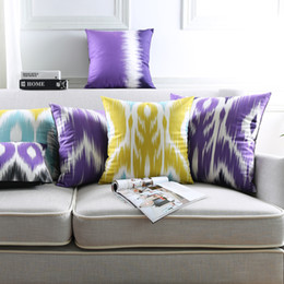 blue stripe cushion covers Canada - Geometric Flower Cushion Covers 7 Styles Watercolor Purple Yellow Stripe Soft Pillows Case 45X45cm 30X50cm Sofa Bedroom Decoration