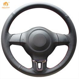 $enCountryForm.capitalKeyWord Canada - Mewant Black Genuine Leather Steering Wheel Cover for Volkswagen Golf 6 Mk6 VW Polo Sagitar Bora Santana Jetta Mk6