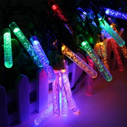 Blue led icicle outdoor christmas lights online blue led icicle solar led lamp 30leds fairy icicle solar power string light air bubbles christmas holiday decoration garden waterproof outdoor lighting aloadofball Images
