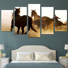 Paint Canvas Horses Canada - 5 Panels HD Printed Cowboys Horses Group Painting Canvas Print room decor print poster picture canvas