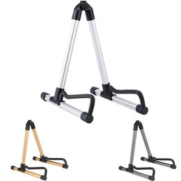 $enCountryForm.capitalKeyWord Australia - 1pcs Guitar Stand Universal Folding Electric Acoustic Bass Guitar Stand A Frame Floor Rack Holder Gold Silver Gray 3 Colors free shipping