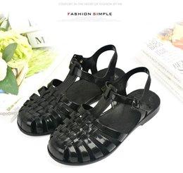 Verão Geléia unisex pescador Sapatos Primavera PVC cristal oco sandália snon-slip praia plana suave moda gladiador doce cor sandálias T-romanas venda por atacado
