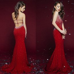 Barato Vestidos Formais Vermelhos Sexy Sem Costas-2017 Bling Sequined Beaded Red Evening Dresses Mermaid Jewel Neck Sexy Backless Long Vestidos de festa formal Women Celebrity Prom Dresses