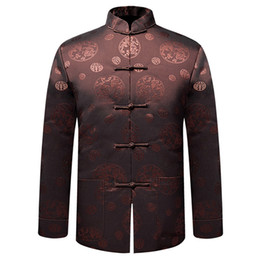 Chinese Kung Fu Jackets Canada - Wholesale- Coffee Brand New Arrival Chinese Traditional Men's Thin Dragon Kung Fu Jackets Wadded jacket M L XL XXL 3XL MTJ2015051