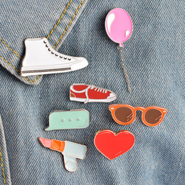Balloon Boxes Canada - Oil Dripping Enamel Pin Cartoon Balloon Lipstick Glasses Canvas Shoes Dialog Box Brooches Delicate Craft Multi Pattern 1 6zb F R