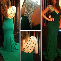Emerald Green One Shouldered Dress Canada - Elegant One Shoulder Formal Pageant Prom Dresses Sparkly Beaded Emerald Green Chiffon Backless 2017 Sexy Prom Party Gowns Custom Made