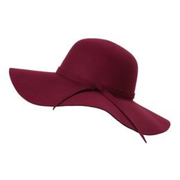 3b86872a739 Wholesale- British Style Women Woolen Beach Hat Vintage Wave Wide Brim  Bowknot Ladies Elegant Summer Sun Hat 11 Color Chapeu Feminino