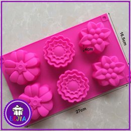 $enCountryForm.capitalKeyWord Canada - Three different flowers shape 6 holes Silicone Mold Cake Decoration tools Food Grade cake soap chocolate Moulds baking bakeware