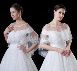$enCountryForm.capitalKeyWord Canada - 2018 Cheap Lace Tulle Wedding Wraps with Delicate 3D Appliques Pearls Crystal Wedding Jacket Shawl Bolero For Sale Stock CPA909