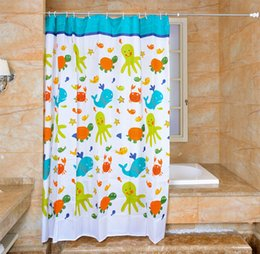 $enCountryForm.capitalKeyWord Australia - Waterproof Shower Curtain 100% Polyester mildew thick Bathroom Curtains Turtle and fish Pattern with Hooks Free print wholesale LJ016