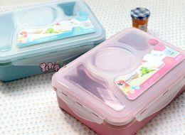 Venta al por mayor de Bento Lunch Box Comida completamente sellada Bandeja de sopa de 4 compartimentos Bento con cuchara de plástico Pratos Microondas Comida
