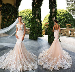 Diseñadores Backless Del Vestido De Boda Del Cordón Baratos-Milla Nova 2017 Diseñador Mermaid vestidos de novia Illusion Cuello Mangas Capote Full Lace Appliqued Backless vestido nupcial