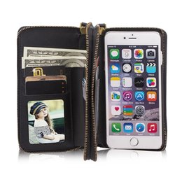 Chinese  For iphone 6 6s High-Capacity Dual Zipper Wallet Leather Case Purse With Magnetic Detachable Cell Phone Cover & Strap manufacturers