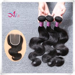 6a quality hair online shopping - 6A Brazilian Body Wave Hair Bundles with a Lace Closure Best Quality A Human Hair Extensions Derun Human Hair Weaves