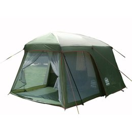 living tents 2019 - Wholesale- Ultralarge high quality one hall one bedroom 5-8 person double layer 200cm height waterproof camping tent che