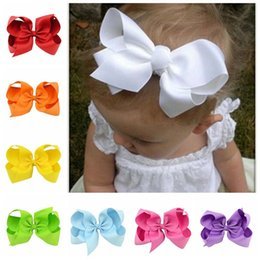 Barrettes Bébé Pas Cher-Clips de cheveux pour bébés Bijoux en bambou de 6 po avec crochets d'alligator Accessoire pour cheveux Accessorise Grosgrain Ribbon Solid Color Bow Hairpins 0601385