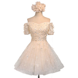 735ced39aba Off-Shoulder Cheap Bridesmaid Dresses Sleeves 3D Flowers Short Prom  Sweetheart Homecoming Dress Wedding Guest Dress Bridal Gowns Plus Size
