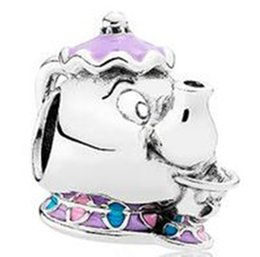 2017 Spring 925 Sterling Silver Mrs Potts and Chip Charm Bead with Enamel Fits European Pandora Jewelry Bracelets on Sale