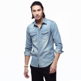 China Autumn Men's Full Sleeve Denim Shirts Water Washed Vintage Wood Button Cotton Shirt Men Tops Clothing Asian Sizes TS-179 suppliers