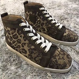 Red bottom leopaRd sneakeRs online shopping - Leopard Rhinestone High Top Sneaker Red Bottom Louisflats With Outdoor Casual Walking Shoes Chaussure Homme