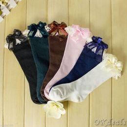 $enCountryForm.capitalKeyWord NZ - Wholesale-Babys' Girls' Toddler Kids Knee High Length Warmer Cotton Socks Bow Lace Frill