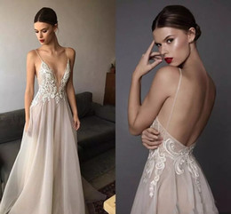 $enCountryForm.capitalKeyWord NZ - 2017 Sexy Berta Wedding Dresses Deep V Neck Spaghetti Straps Embroidered Tulle Backless Summer Illusion Long Boho Bridal Gowns For Beach