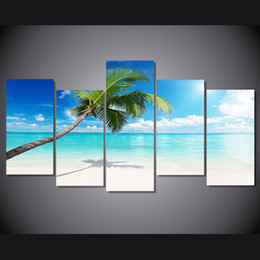 $enCountryForm.capitalKeyWord UK - 5 Pcs Set Framed HD Printed palm tree beach picture Painting wall art room decor print poster picture canvas Free shipping ny-604
