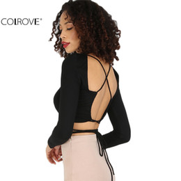 $enCountryForm.capitalKeyWord UK - Wholesale- COLROVE Black Criss Cross Backless Long Sleeve Crop Top Women Sexy Club Wear Tees Plain Round Neck T-Shirt