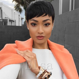 best hair wigs for black women Canada - Cheap Straight None Lace Wig Human Brazilian Best Hair Layered Pixie Cut Wig Side Bangs Short Bob Wigs for Black Women