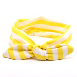 Étirement En Gros Pas Cher-Vente en gros - 1PC Baby Girl Kids Soft Stretch Stripe Rabbit Bow Turban Bowknot Hairband Headband Head Wrap Hair Band Accessoires