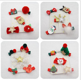 Style Clip For Children Canada - 5pcs set 2017 Christmas Hair Clips Xmas Style Hairpins Fashion Hair Clip Gifts for Lovely Girls Kids Children Hair Accessories