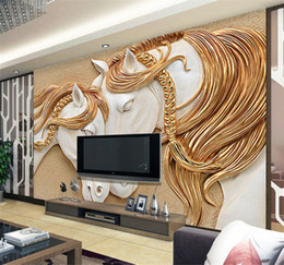 wallpaper quality embossed NZ - High Quality Custom Photo Wallpaper 3D Stereo Embossed Horse Living Room TV Backdrop Wall Mural Art Painting Mural Wall Paper
