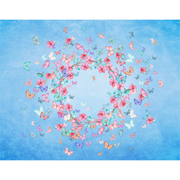 blue flowers background Canada - Digital Printed Colorful Butterflies Baby Shower Backdrop Pink Flowers Wreath Blue Photography Background Photo Props for Newborns