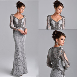 Vintage mother pearl online shopping - 2017 New Mother Of The Bride Dresses Mermaid Sweetheart Long Sleeves Full Lace Silver Crystal Beading Plus Size Party Dress Evening Gowns