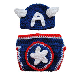 01eeffea8cac00 Crochet Baby Captain America Set,Handmade Knit Baby Boy Girl Super Hero  Captain Hat Diaper Cover,Newborn Halloween Costume,Infant Photo Prop