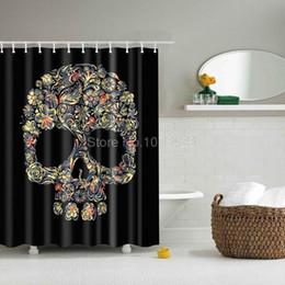 Wholesale  Custom Shower Curtain Black Cartoon Skull U0026 Flowers Design  Bathroom Waterproof Mildewproof Polyester Fabric Multi Size +12 Hooks