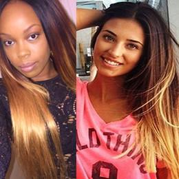 Virgin Brazilian Human Hair Wigs Australia - Ombre Full Lace Human Hair Wigs T1b 4 27 Dark Root Brown Honey Blonde Three Tone Straight Brazilian Virgin Hair Lace Front Wigs