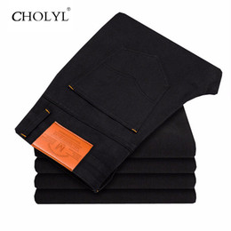 Vêtements Bon Marché Pour Les Hommes Noirs Pas Cher-Wholesale- 2017 Hot Sale Biker Jeans Hommes Casual Denim Black Right Design Pantalons Cheap Clothing Chine Marque Vêtements Fog Homme Jeans