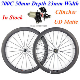 Bike Stocks Canada - 700C 50mm Depth 23mm Width Carbon Wheels In Stock UD Matte Clincher Full Carbon Bike Bicycle Wheelset With Novatec 271 372 Hubs
