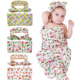 $enCountryForm.capitalKeyWord Canada - 2017 Baby Boys Girls Flower Print Blanket + Top wrapped cloth headband Sets Newborn Headwear Knit Blanket Sets