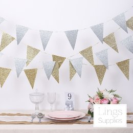 Cloth Meters Australia - Wholesale- Free Shipping 1 X 3 Meter Gold Silver Shiny Cloth Flag Wedding Garland Banner Party Decoration Supply